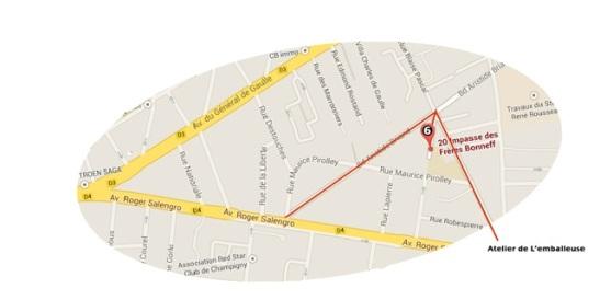 Repere visuel: quand vous etes sur l'avenue Roger Salengro (en direction de la Fourchette, vers Joinville) l'avenue Artistide Briand est a peu pres a la hauteur du garage Renault. La prendre et vous arriverez a l'Impasse.