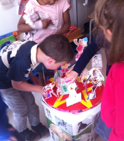 A titre de professeur des ecoles, un exemple de realisation par les enfants sur le theme du cirque: marionnette et piste aux etoiles!