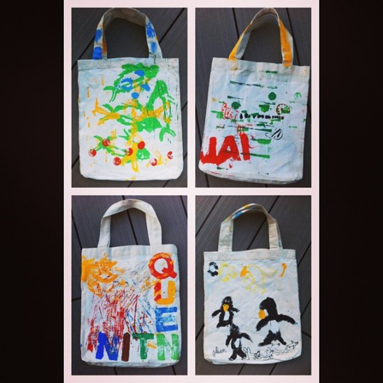 Made by the children of the Lycee Francais International  de Tokyo (prints, stencils and painting)
