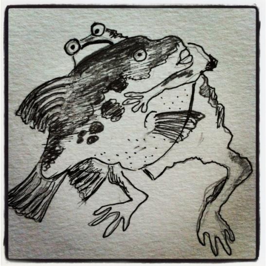 Sketching Ito Jakuchu's sumo frog against Fugu.