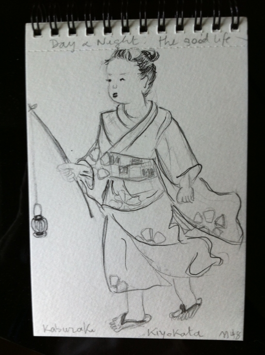 Sketching with Adrien at the Suntory Museum (Mono no Aware and Japanese Beauty) - here fragment of Kaburaki Kiyokata's work, 1948.