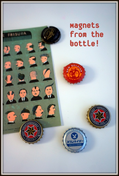 From Belgium, Spain, Japan... the bottle caps have a second life on my fridge! I turned them into magnets.