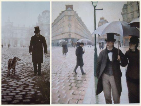 Gustave et sa chienne Bergere place du Carrousel a Paris, tableau Rue de Paris, temps de pluie, 1877