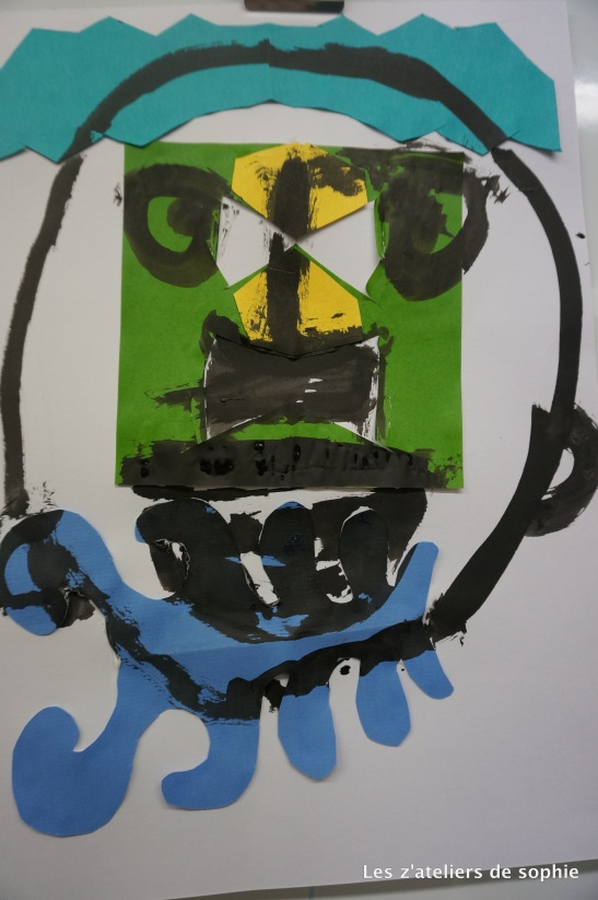 Collage and Ink, by Theodore (5,5 years old).