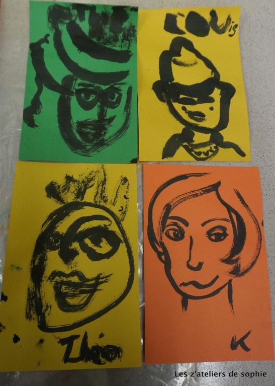 Portraits a l'encre les z'ateliers de sophie