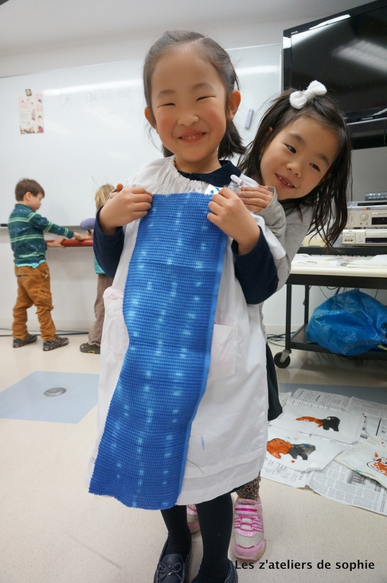 Tie and dye result (here Yukino Chan used clothe pins to make those marks).