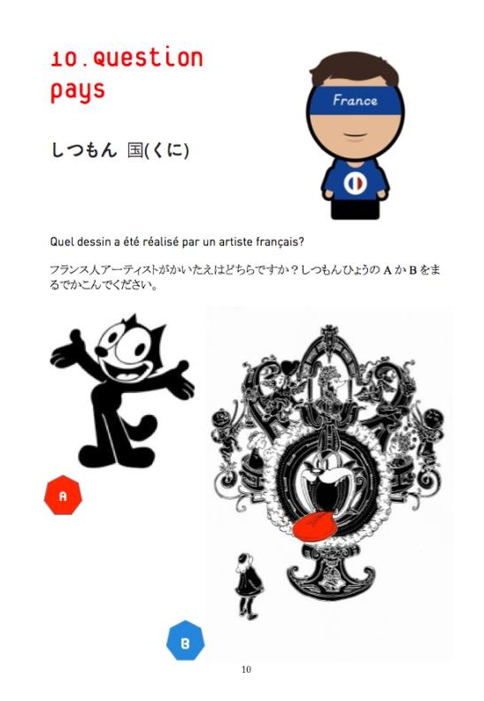 Conception Jeu de piste Les z'ateliers de sophie avec Laurence Meyer. Un exemple de question ! Les dessins de Nicolas Buffe (reponse B) sont visibles au Musee Hara de Tokyo en Avril 2014.