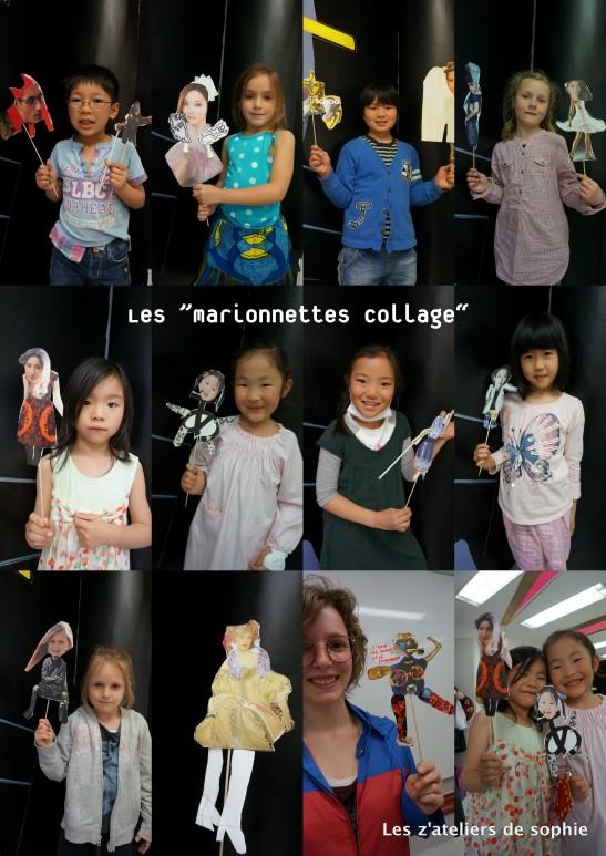 Les marionnettes par collage par le groupe du mercredi a l'Institut Francais du Japon/Tokyo.