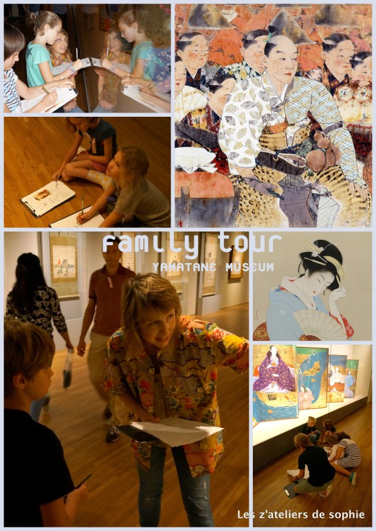 Last guided Family Tour by Carole Glauser-Pidoux and Sophie Fort at the Yamanate Art Museum, June 2014.