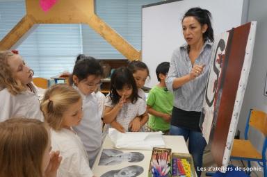 En collaboration avec l'artiste Yasmina Legrandjacques, un atelier ou les enfants decouvrent sa technique: transfert de photo, collage, peinture. Ici, photos des enfants realisees au prealable: façon LE CRI!