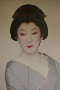Photo par Serge Montout (affiche dans Tokyo).  Acteur de kabuki, role d'onnagata.