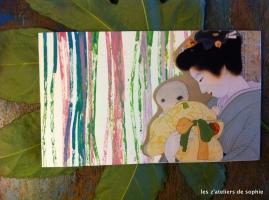 Inspired by Uemura Shoen - carte de voeux par collage.