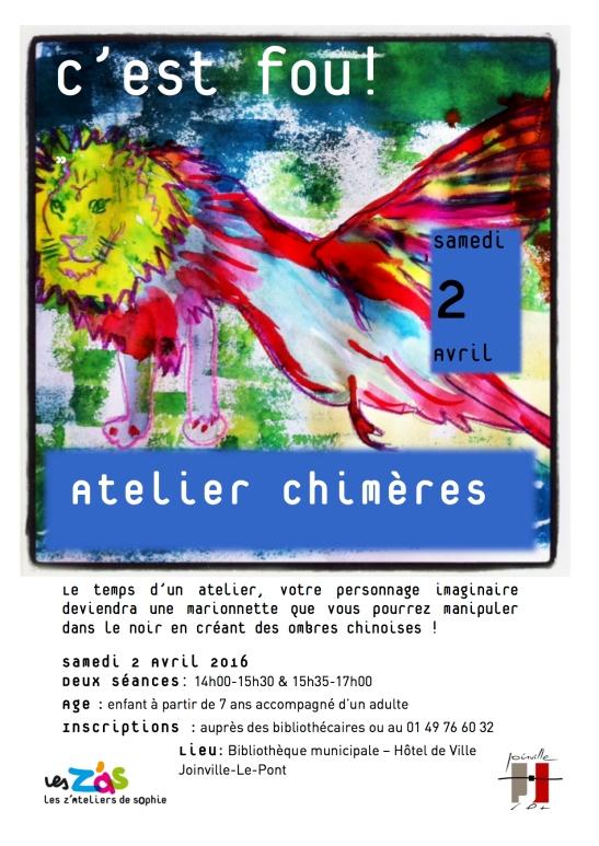 Affiche LES Z'ATELIERS DE SOPHIE pour Bibliotheque de Joinville-le-Pont.